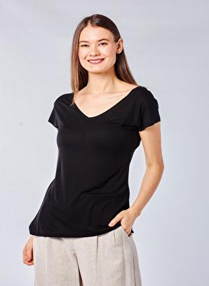 Coral Derin V Yaka T-Shirt Siyah